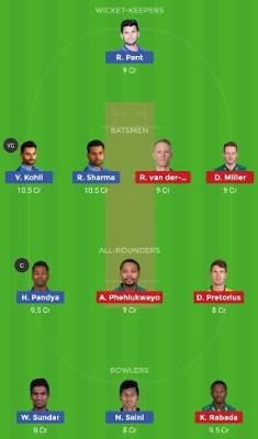 SA vs IND dream 11 team | IND vs SA