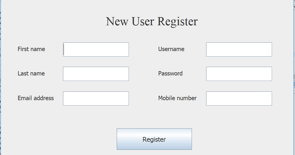Registration Form Using Java Swing Jdbc Mysql Example