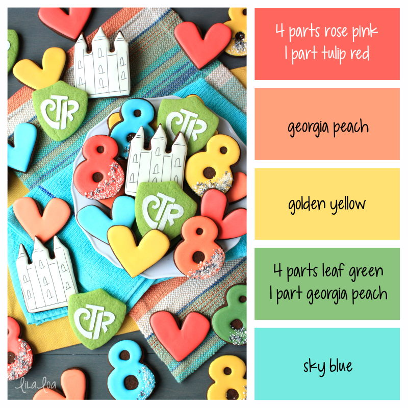 Brightly colored Church of Jesus Christ baptism decorated chocolate sugar cookies