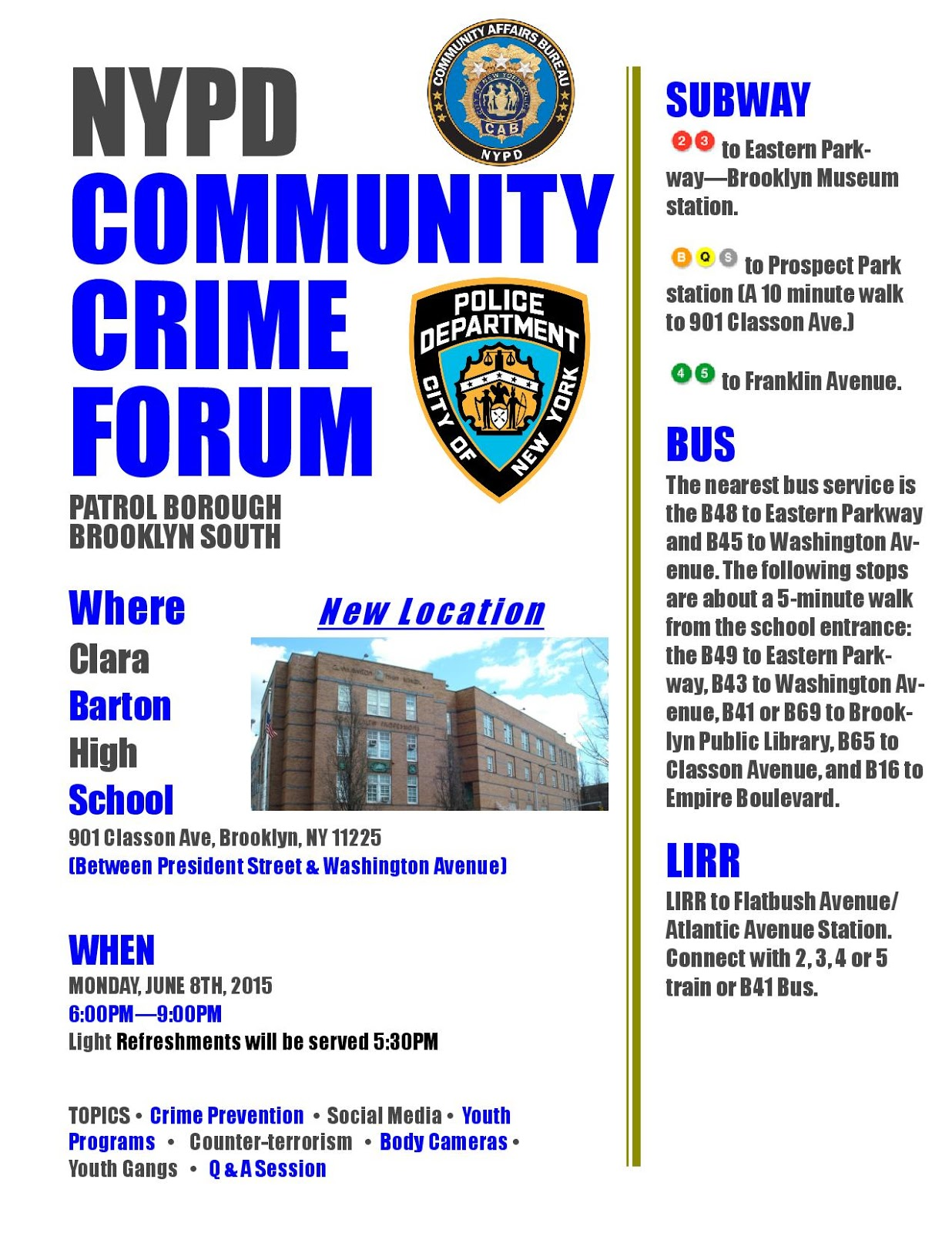 the Q at Parkside: Must To Do: Crime Forum on Monday