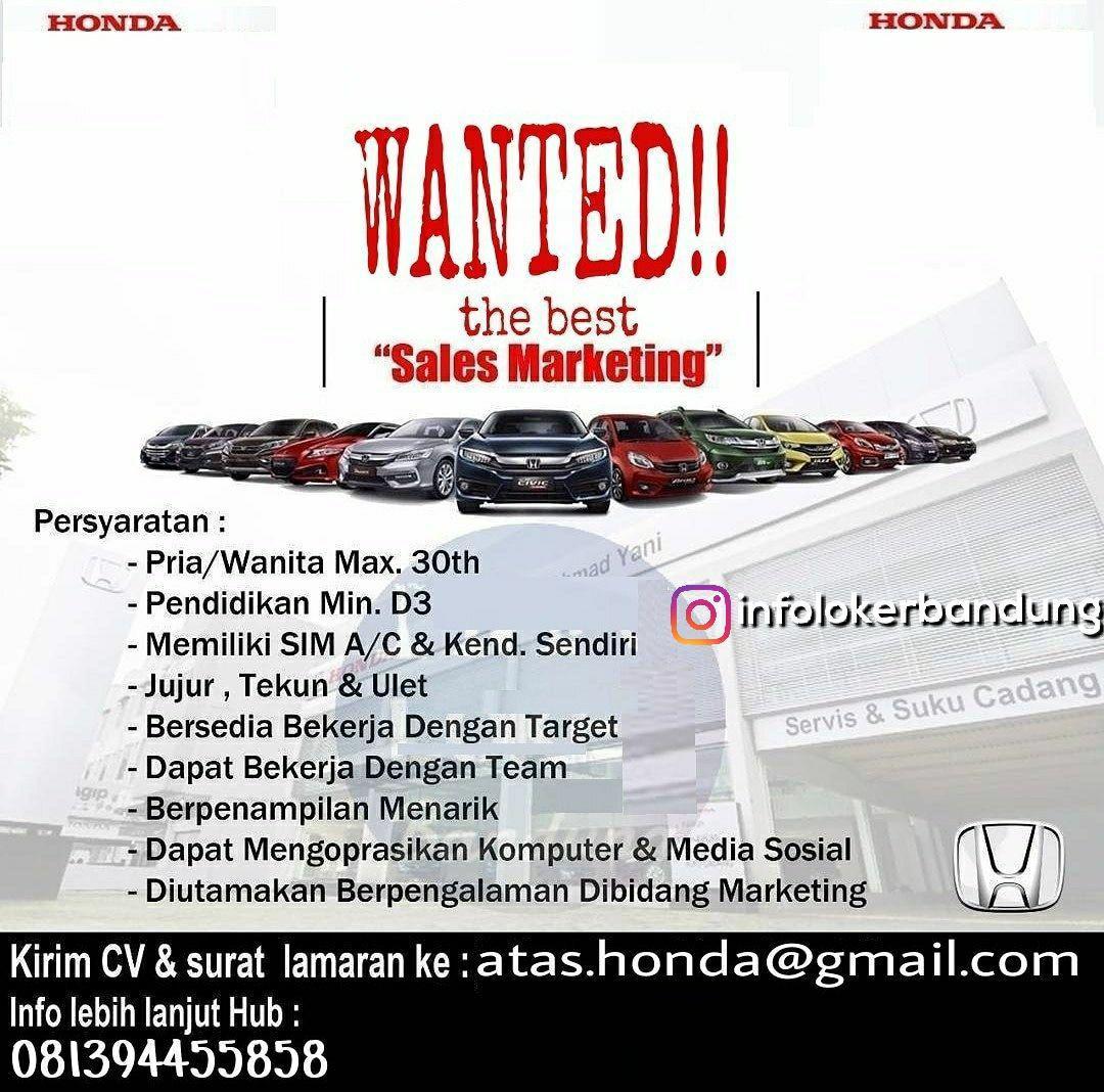 Lowongan Kerja Sales Marketing Honda Mobil Ahmad Yani Bandung Januari 2018