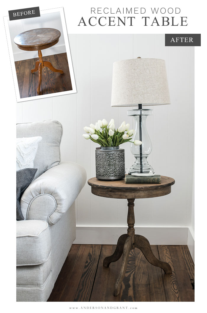 Before and after side table makeover