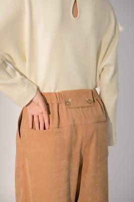 卡其絨布日光風景壓線寬管褲