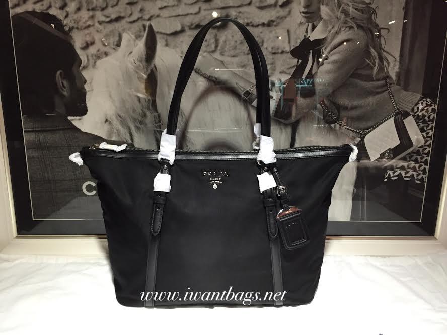 9455b769acf0 I Want Bags backup: Prada B4253M Tessuto+Soft Calf Nylon Tote-Black