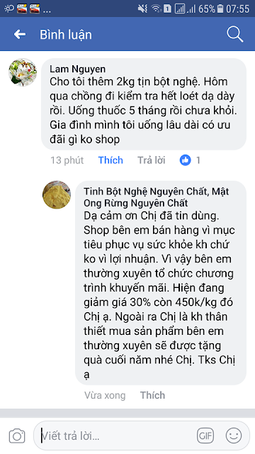 Phản hồi của Chị Lam khi sử dụng tinh bột nghệ