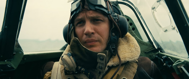 Tom Hardy as Ace Spitfire Supermarine  pilot Farrier in Dunkirk