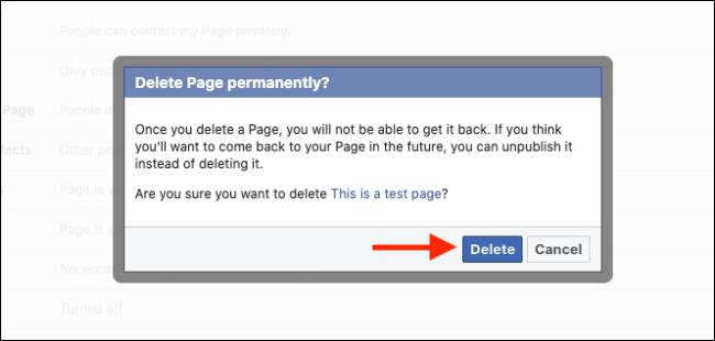 انقر فوق الزر حذف لحذف صفحة Facebook الخاصة بك