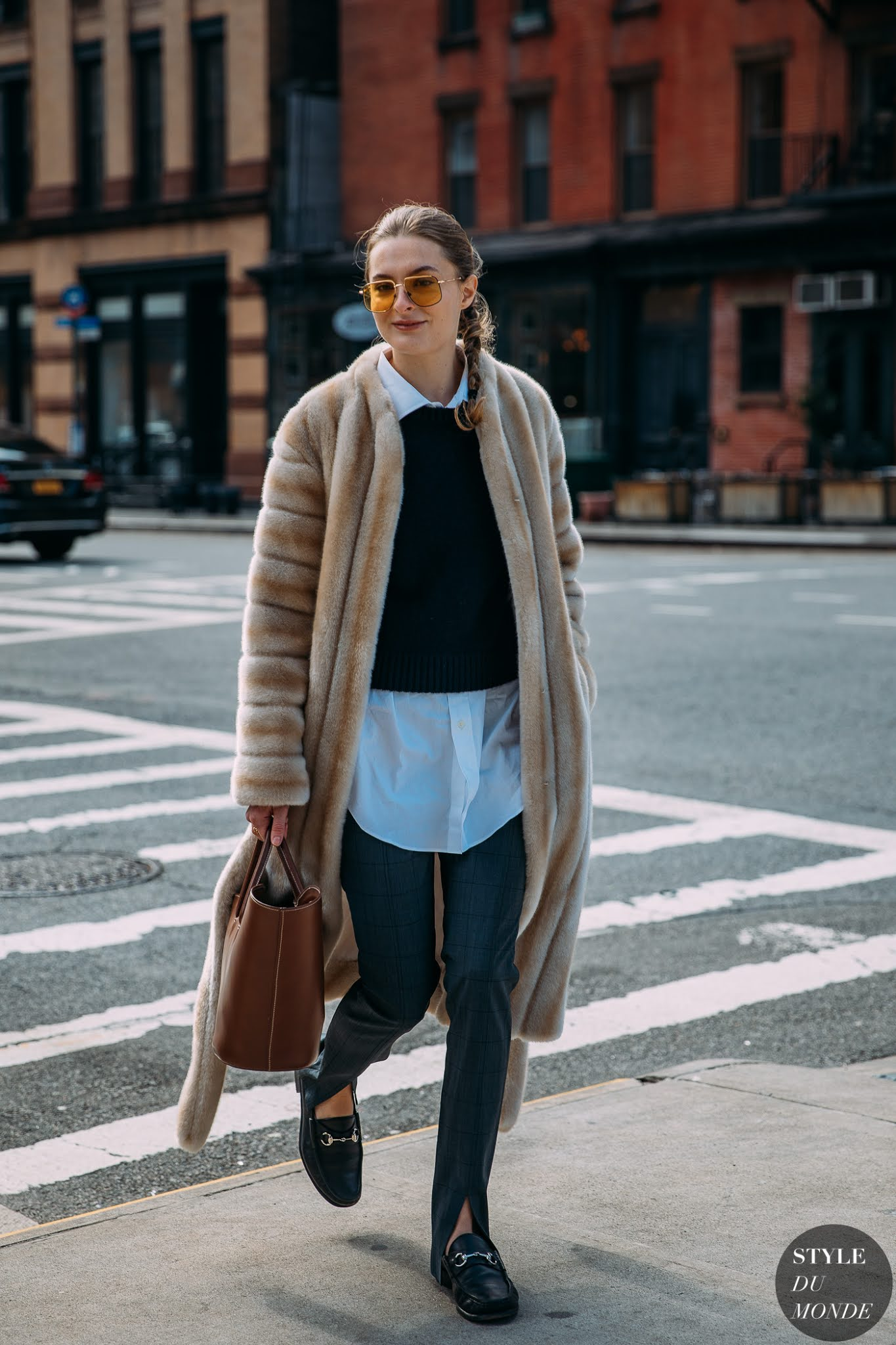 Easy Business Casual Fur Coat Outfit Idea