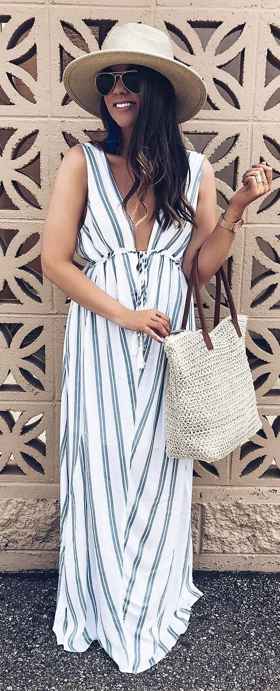 summer bohemian style addict: hat + maxi dress