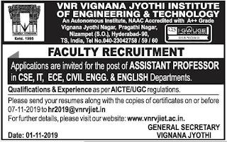 VNR Assistant professors Jobs in Vignana Jyothi Institute of Engineering & Technology 2019 Recruitment, Hyderabad