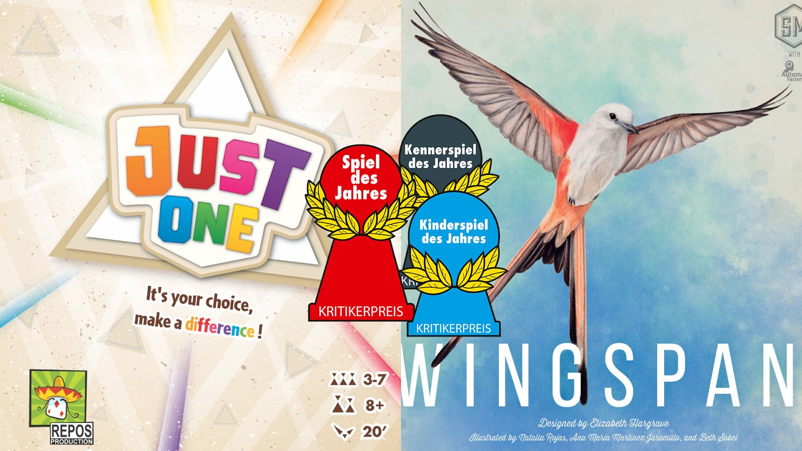 News Collider - Spiel de Jahres Winners Just One Wingspan
