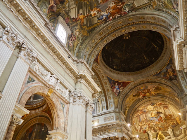 Trompe l'oeil ceiling of the Church of St Ignatius, Rome, Italy