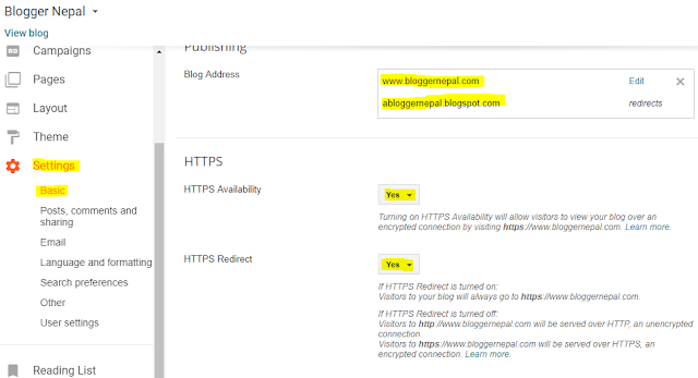 How to add .np domain in Blogger with https-- redirects