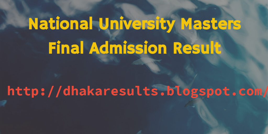 National University Masters Final Admission Result 2014-15