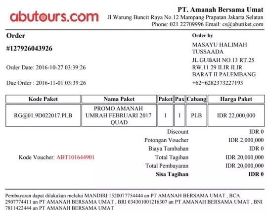 Contoh Invoice Travel and Tours