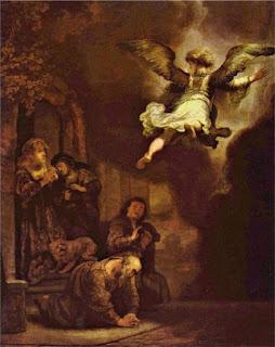 Rembrandt: Der Engel Raphael verläßt die Familie des Tobias