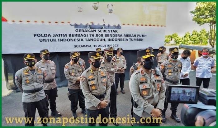 Polda Jatim Berbagi 76.000 Bendera Merah Putih untuk Indonesia Tangguh, Indonesia Tumbuh