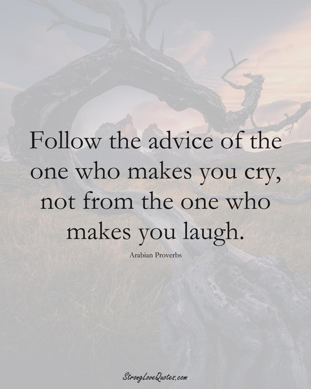 Follow the advice of the one who makes you cry, not from the one who makes you laugh. (Arabian Sayings);  #aVarietyofCulturesSayings