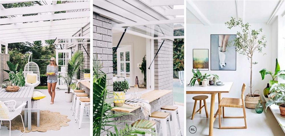 estilo decoración tropical exterior muebles madera y blanco fibras naturales y plantas
