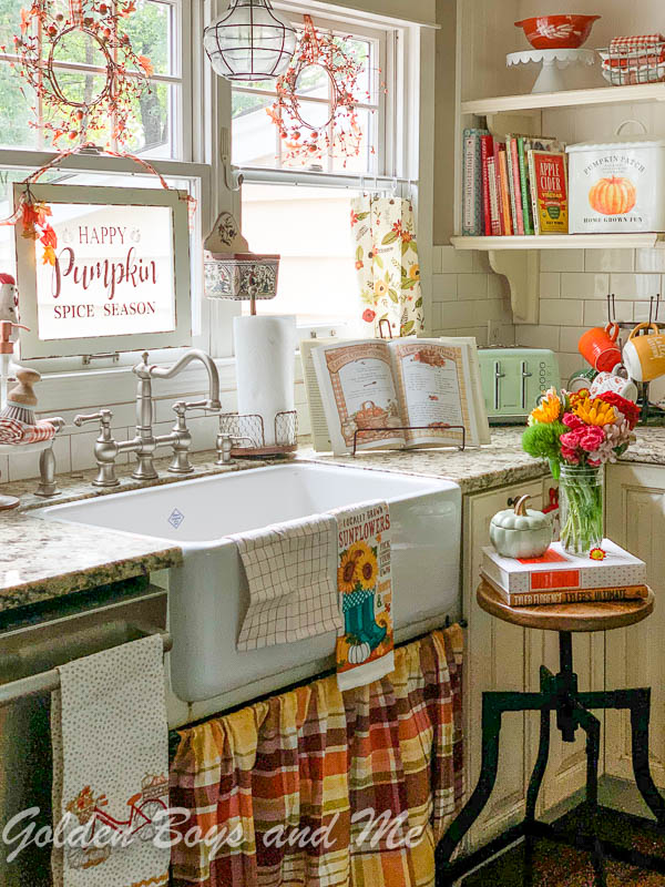 Farmhouse style sink in country kitchen - www.goldenboysandme.com