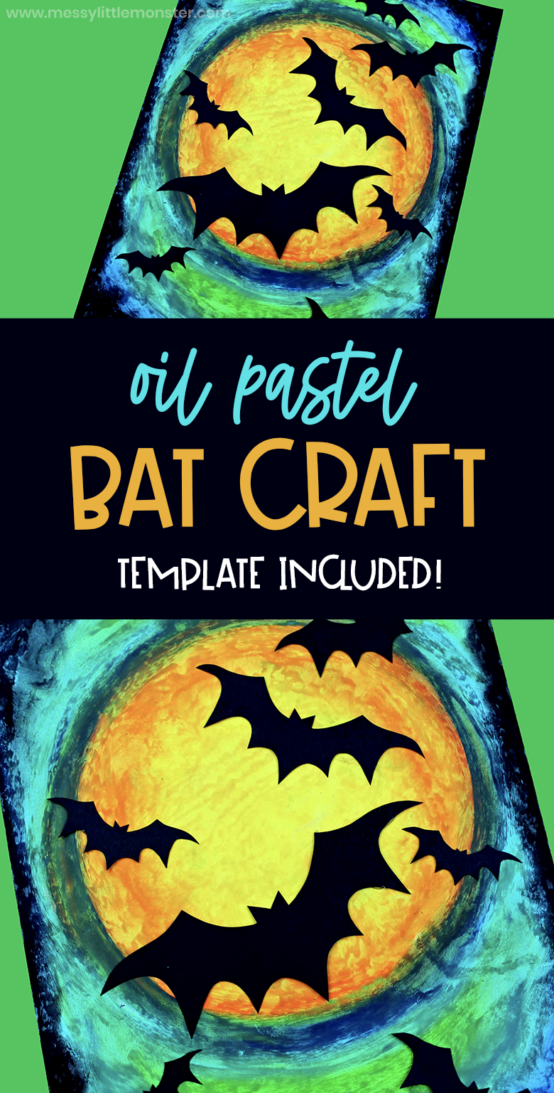 Bat craft - oil pastel art with a bat template included. A perfect Halloween craft for kids!