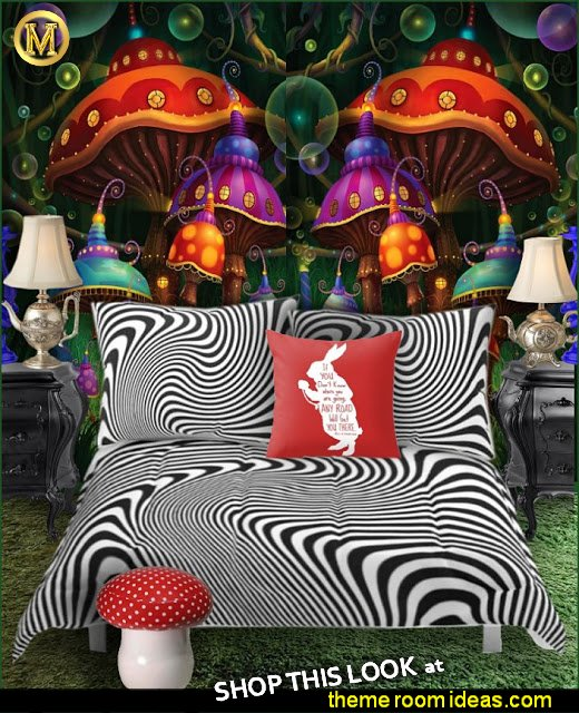 Alice in Wonderland bedding  Alice in Wonderland throw pillows Teapot Table lamps  mushroom stool  Trippy Psychedelic Alice Room Decor