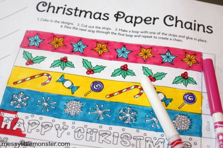 Paper chains Christmas activity for kids