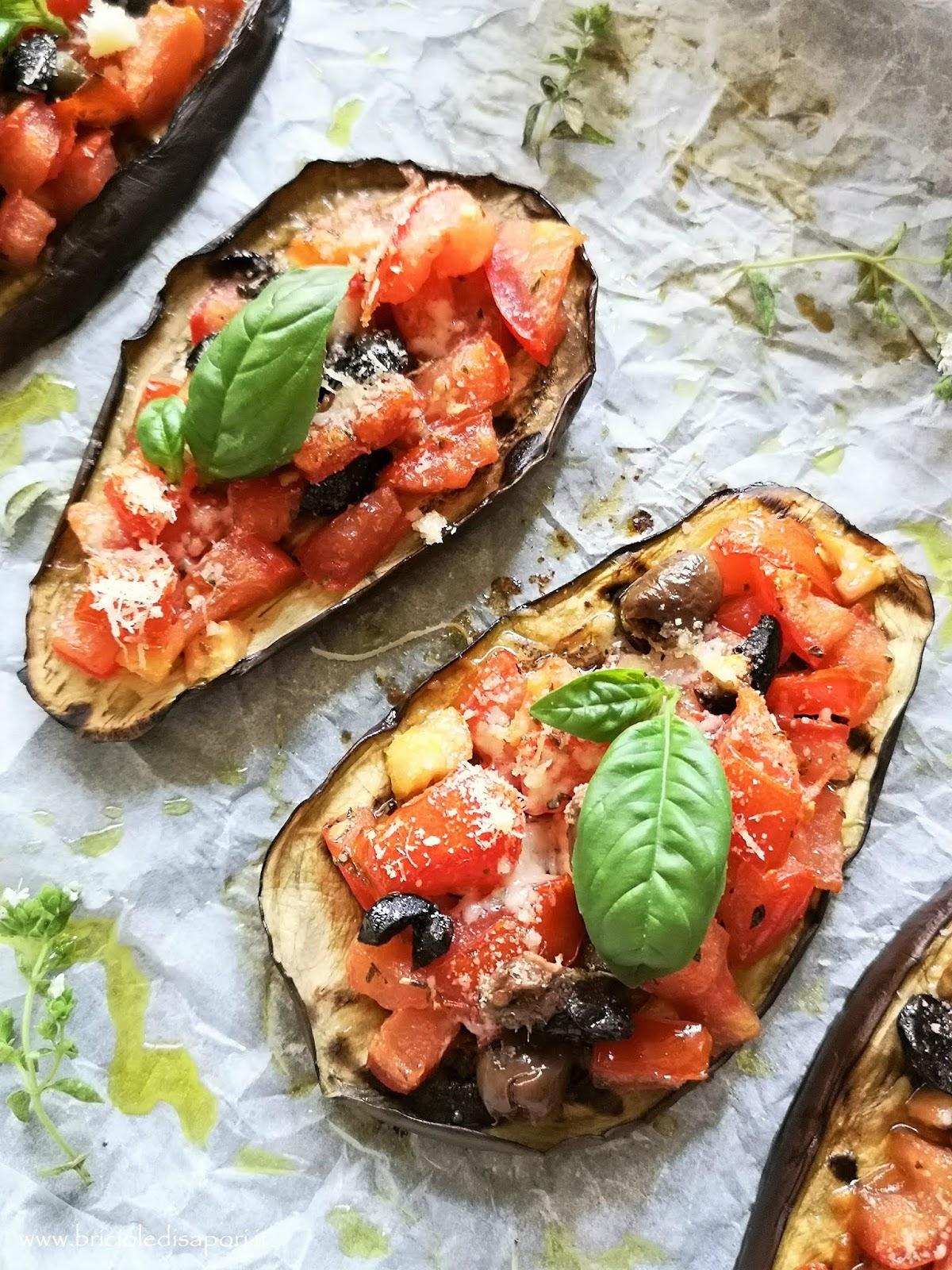 melanzane grigliate con pomodori olive capperi acciughe