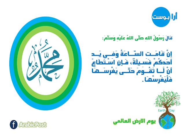 تشجيع الرسول محمد على الزراعة, إن قامت الساعة وفي يد أحدكم فسيلة, يوم الارض العالمي
