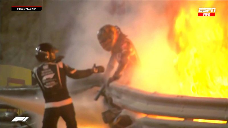 Barra de titanio de 8 kilos salvó la vida del piloto Romain Grosjean