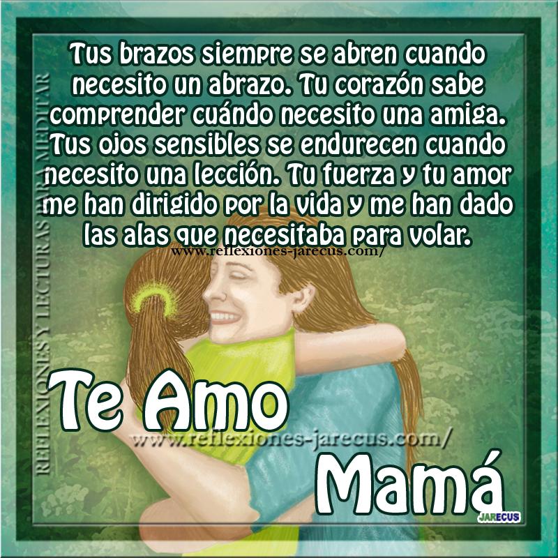 Te amo mamá, tus brazos siempre se abren cuando necesito un abrazo. Tu corazón sabe comprender cuándo necesito una amiga. Tus ojos sensibles se endurecen cuando necesito una lección.  Tu fuerza y tu amor me han dirigido por la vida y me han dado las alas que necesitaba para volar. TE AMO MAMÁ