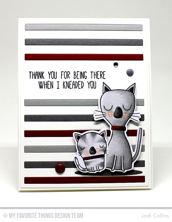 Handmade card from Jodi Collins featuring Cat-itude stamp set and Die-namics, Oval Shadows, Striped Sentiment Strip Cover-Up, Circle STAX Set 2, and Blueprints 2 Die-namics #mftstamps