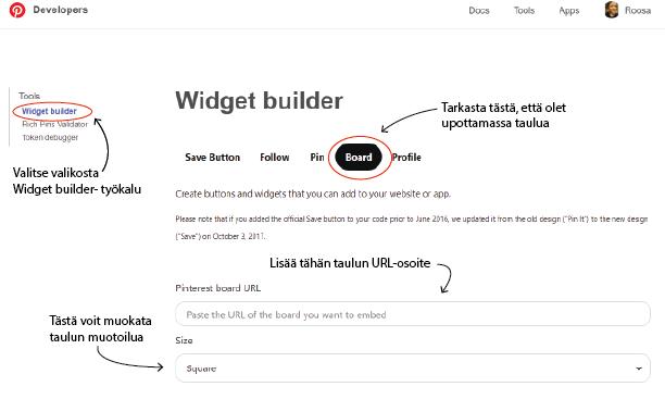 Widget builder sivustonäkymä