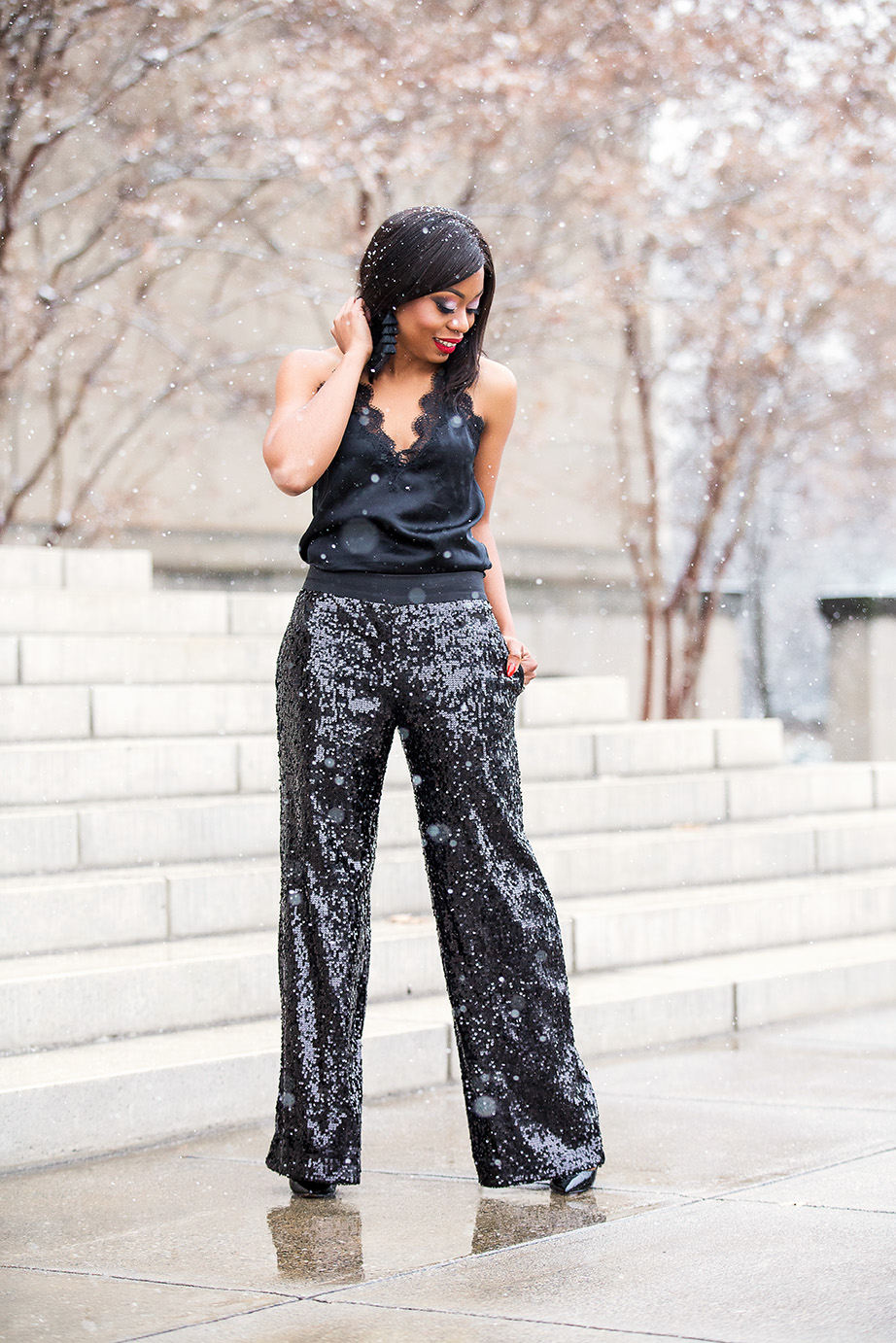 bauble bar tassel earrings, sequin palazzo pants, www.jadore-fashion.com
