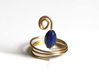 Brass Lapis Wrap Ring