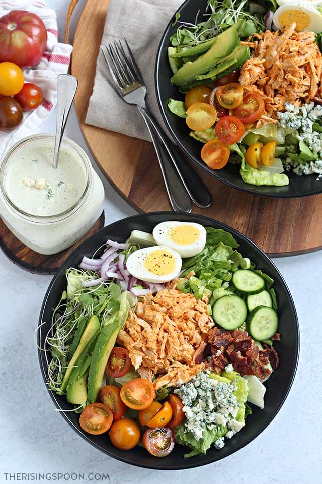 Easy Buffalo Chicken Cobb Salad Recipe with Blue Cheese Dressing