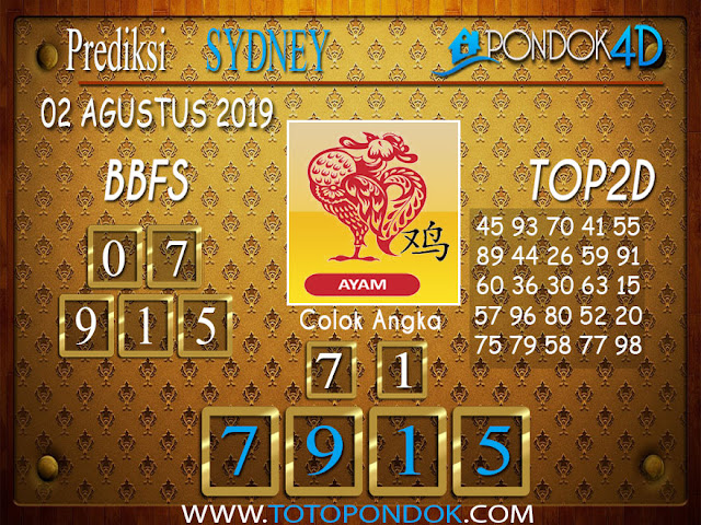 Prediksi Togel SYDNEY PONDOK4D 02 AGUSTUS 2019