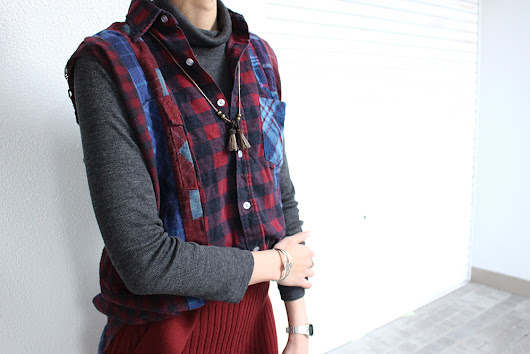 "Rebuild by Needles"" 7cuts flannel sleeveless shirt """