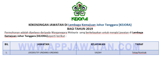 Jawatan Kosong Terkini di Lembaga Kemajuan Johor Tenggara (KEJORA).