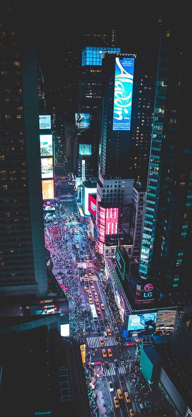 ِAerial photo of a busy city during night