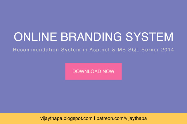Online Branding System, Recommendation System in ASP.net Free Project