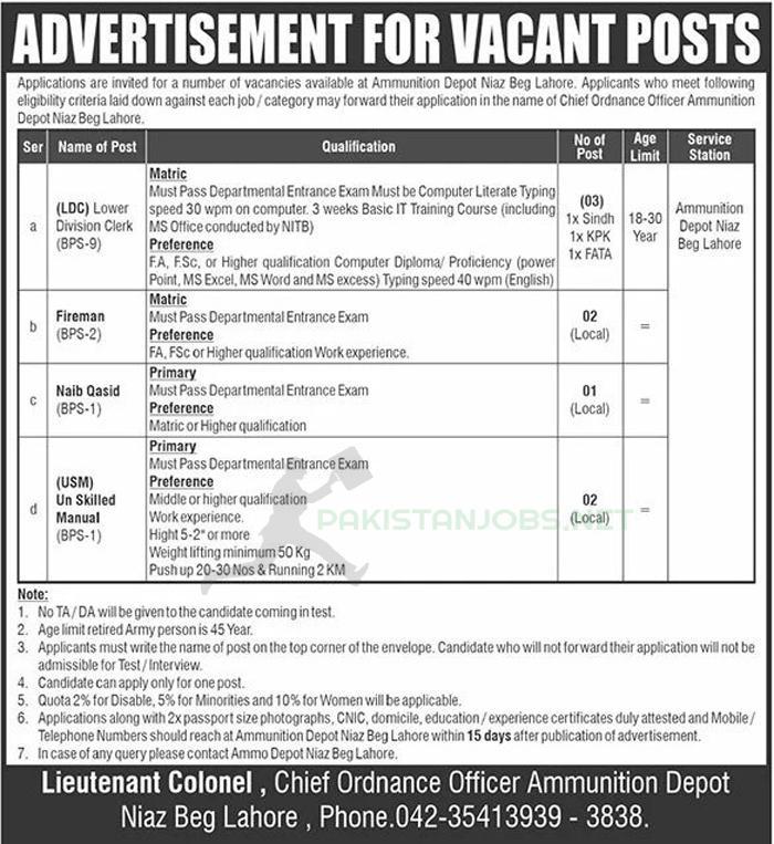 Pak Army Ammunition Depot Lahore Jobs 2021