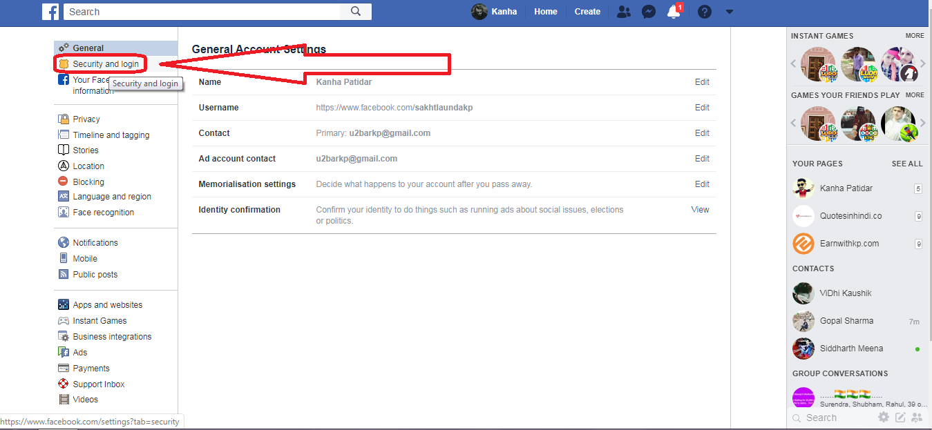 facebook security and login
