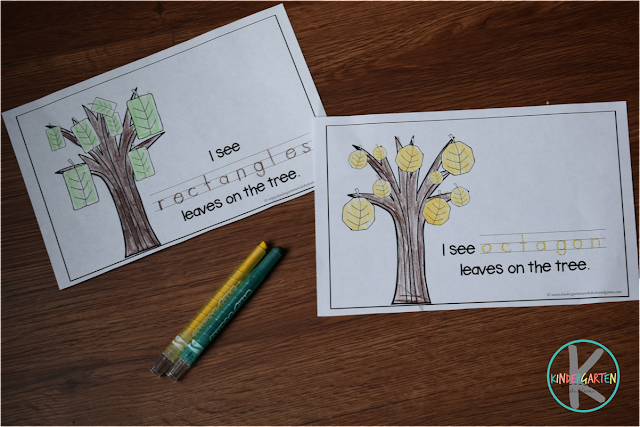 fall shapes emergent reader to color and trace shape words
