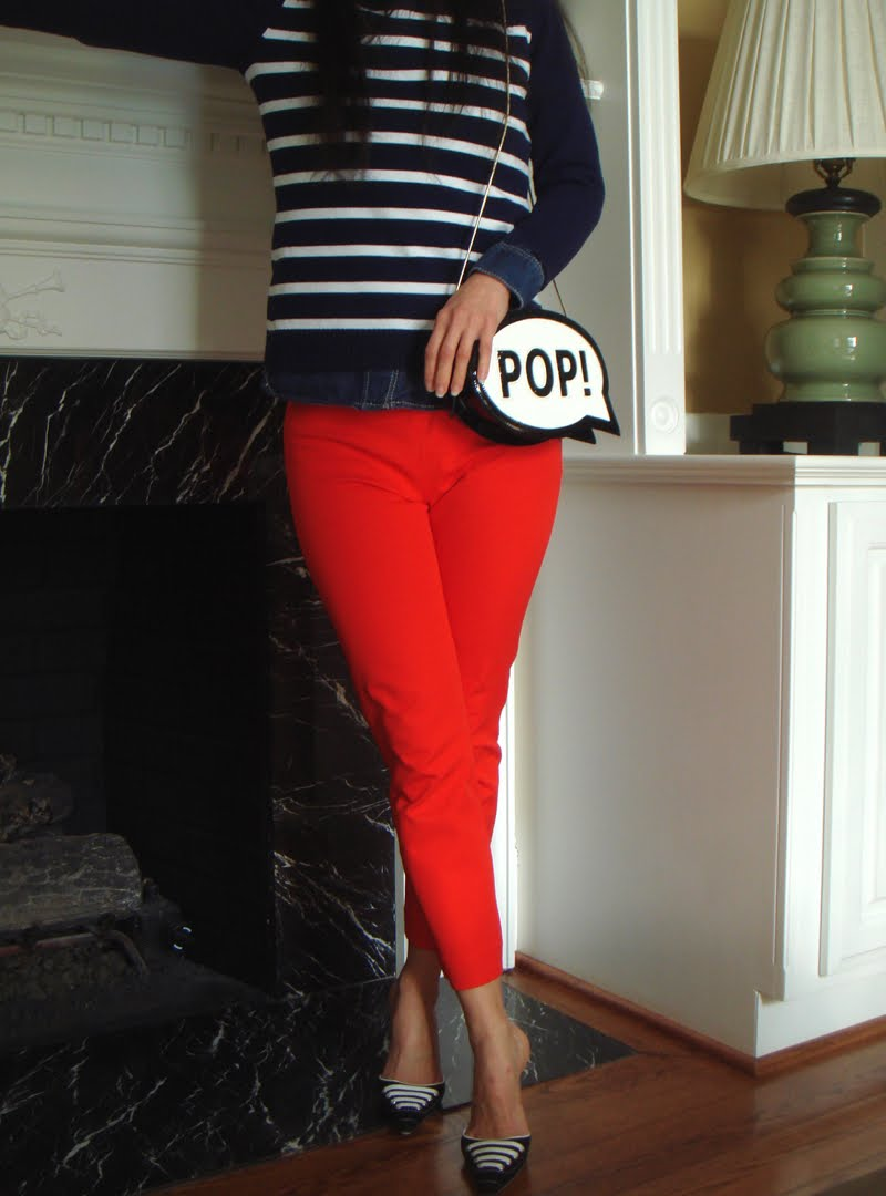 "Classic Stripes and a ""Pop"" of Red outfit"