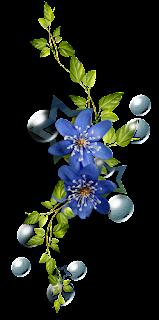 adorno floral, flor azul, ramo