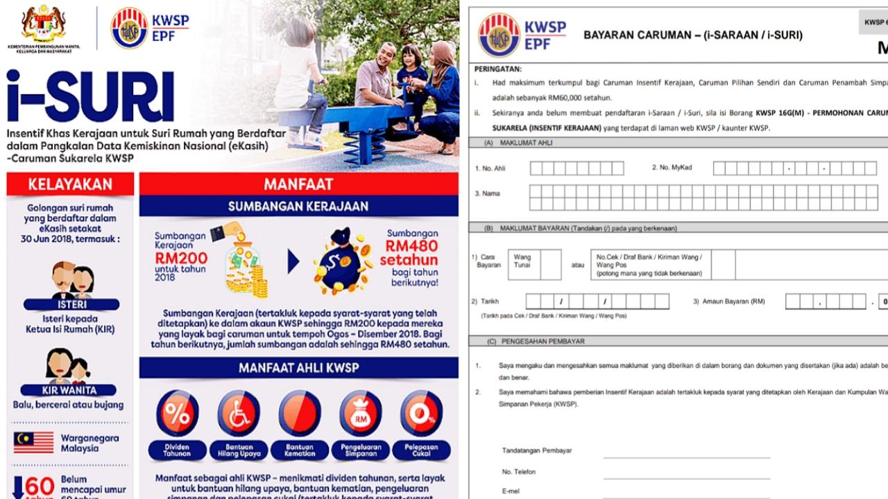 Permohonan Bantuan i-Suri KWSP 2021 Bagi Suri Rumah RM480 Setahun