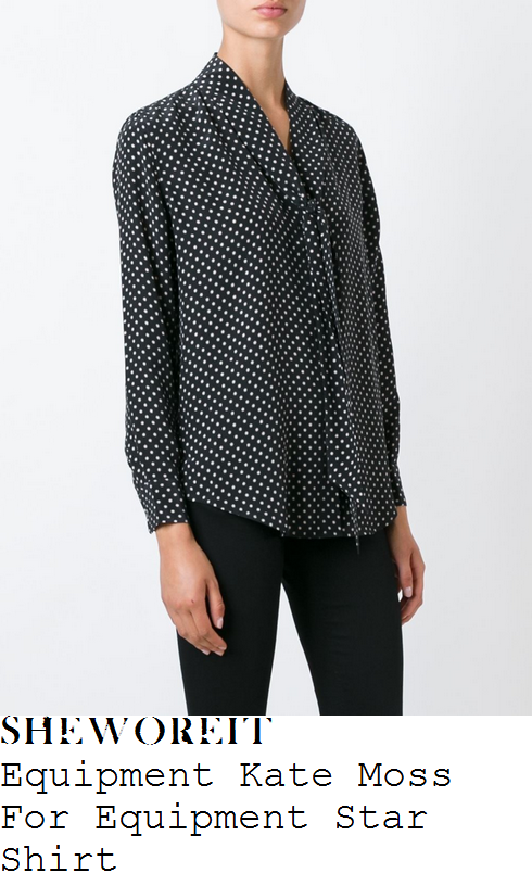louise-redknapp-equipment-kate-moss-for-equipment-black-and-white-monochrome-star-print-long-sleeve-tie-neck-detail-silk-shirt