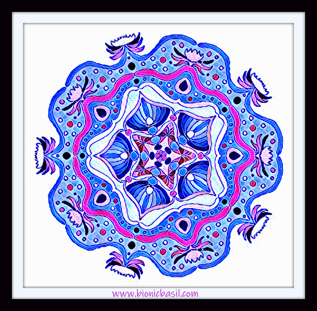 Mandalas on Monday ©BionicBasil® Colouring With Cats Mandala #127 coloured by Cathrine Garnell