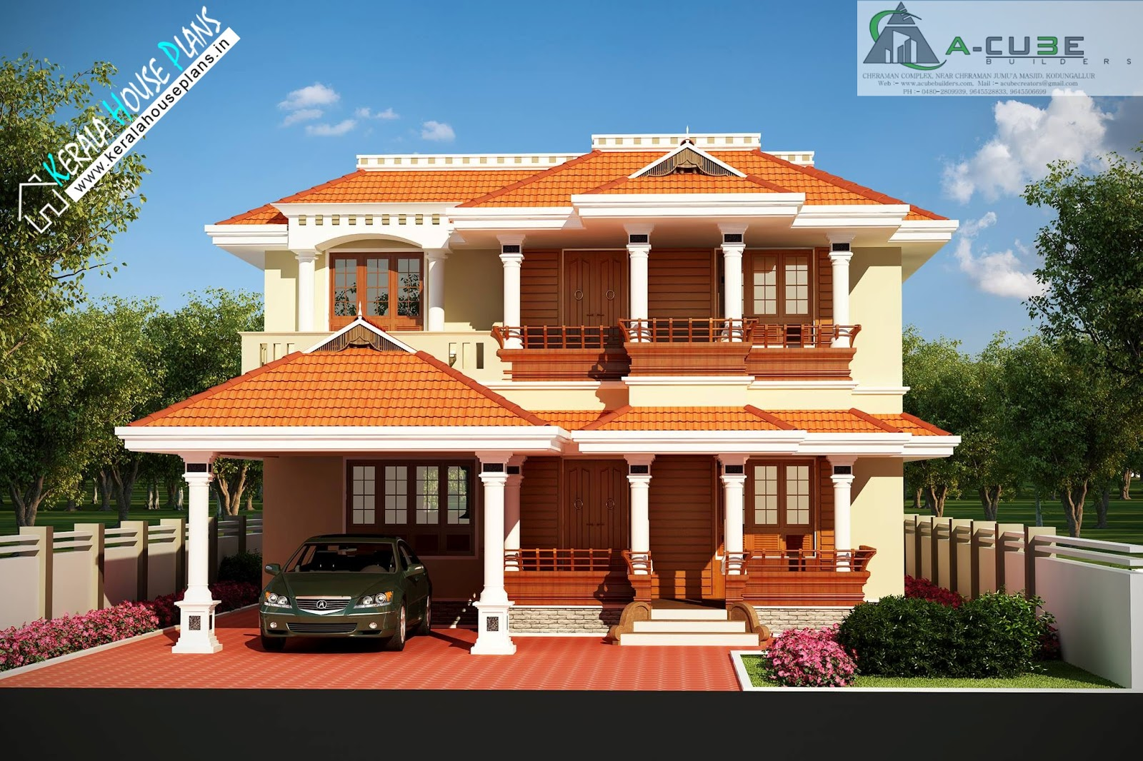 Beautiful kerala traditional house design kerala house for Conventional house style